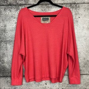 Anthropologie // Pink Waffle Knit Thermal Top